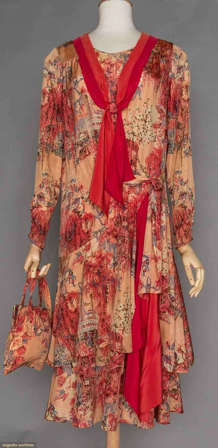 aba67f5d04bf NEW ORLEANS PRINT SILK DAY DRESS & PURSE, 1930s Peach silk taffeta printed  w/ figural New Orleans scenes, drop W, 2 tier skirt, rose silk scarf, ...