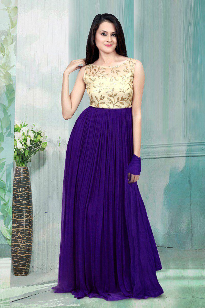 b27755c89fb2 New Purple Color Georgette Semi Stitched Gown. Designer Gowns