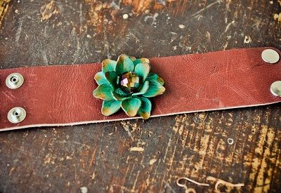 Metal flower leather bracelet from www.cowgirlshine.com