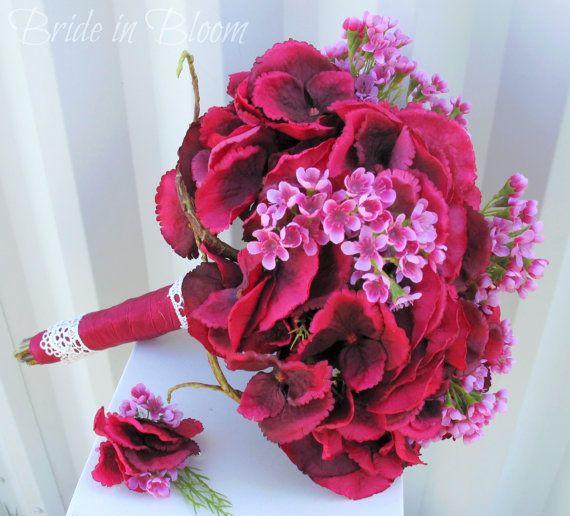 Raspberry lace Wedding bouquet silk flower by BrideinBloomWeddings,
