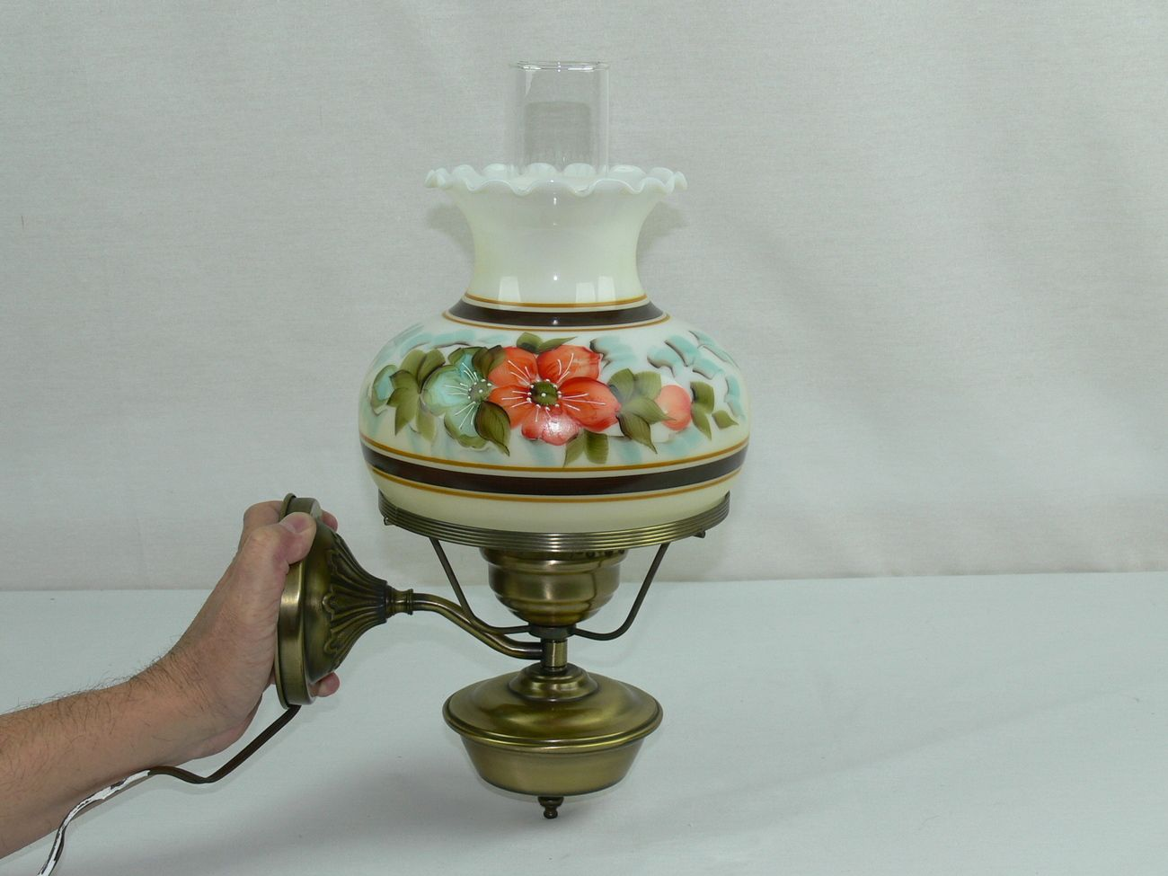 Vintage Electric Hurricane Lamp Wall Sconce With Floral Milk Glass Shade Hurricane Lamps Glass Shades Milk Glass