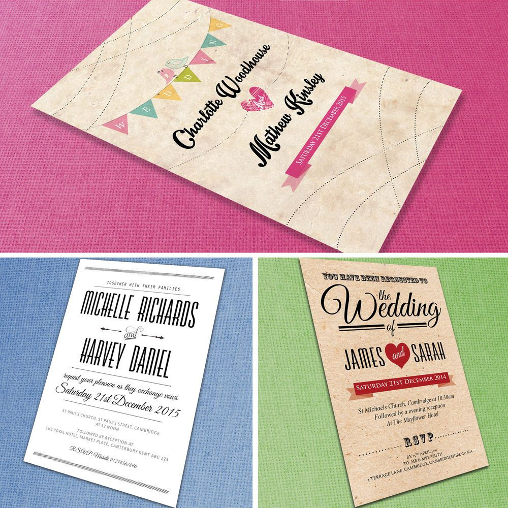 Personalised Wedding Invitations with Envelopes *Day & Evening ...