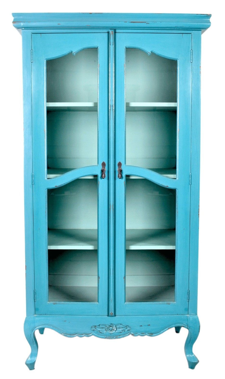 Furniture. turquoise tall narrow cabinet with glass door in classic ...