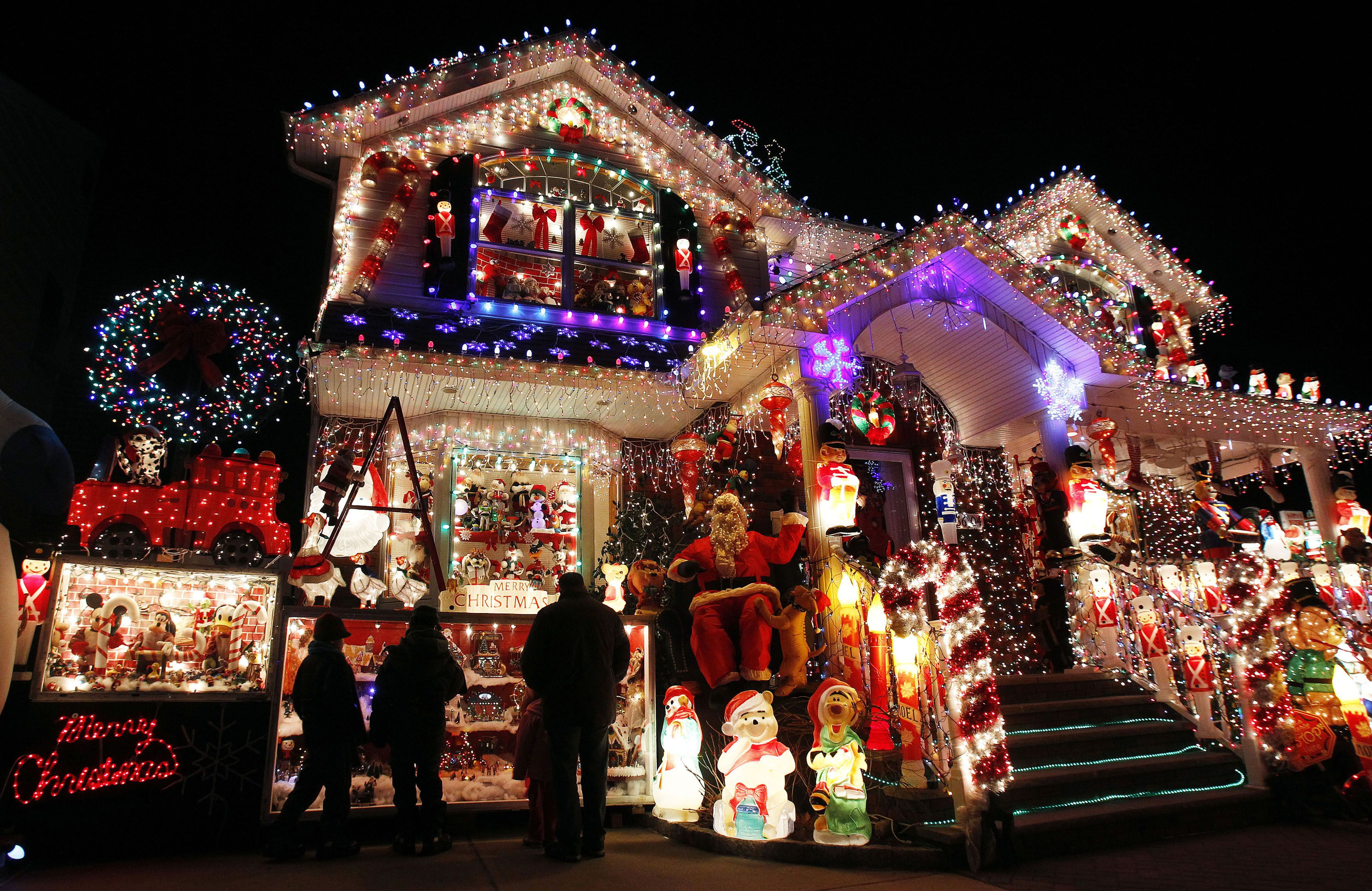Eclectic Christmas Lights Homes With Purple Effect And Doll House Decorations Decorated Houses For Beautiful
