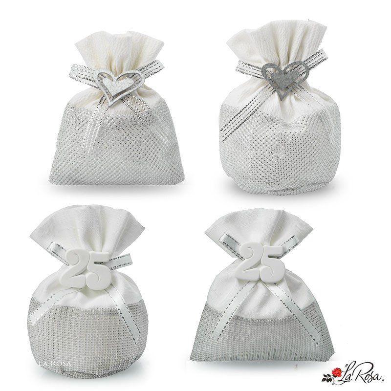 Sacchettini Portaconfetti Nozze D Argento 25 Anni Matrimonio Sacchettini In Tessuto Colore Argentato Con A Nozze D Argento Nozze 25 Anniversario Di Matrimonio