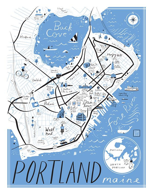 2019的libby Vanderploeg Map Of Portland Maine Map Illustration