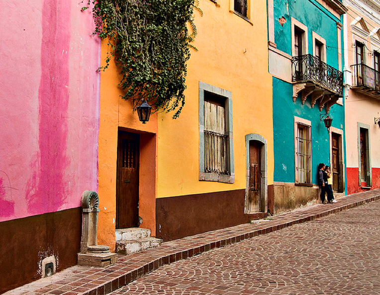 pink, orange, turquoise historic town of guanajuato, mexico