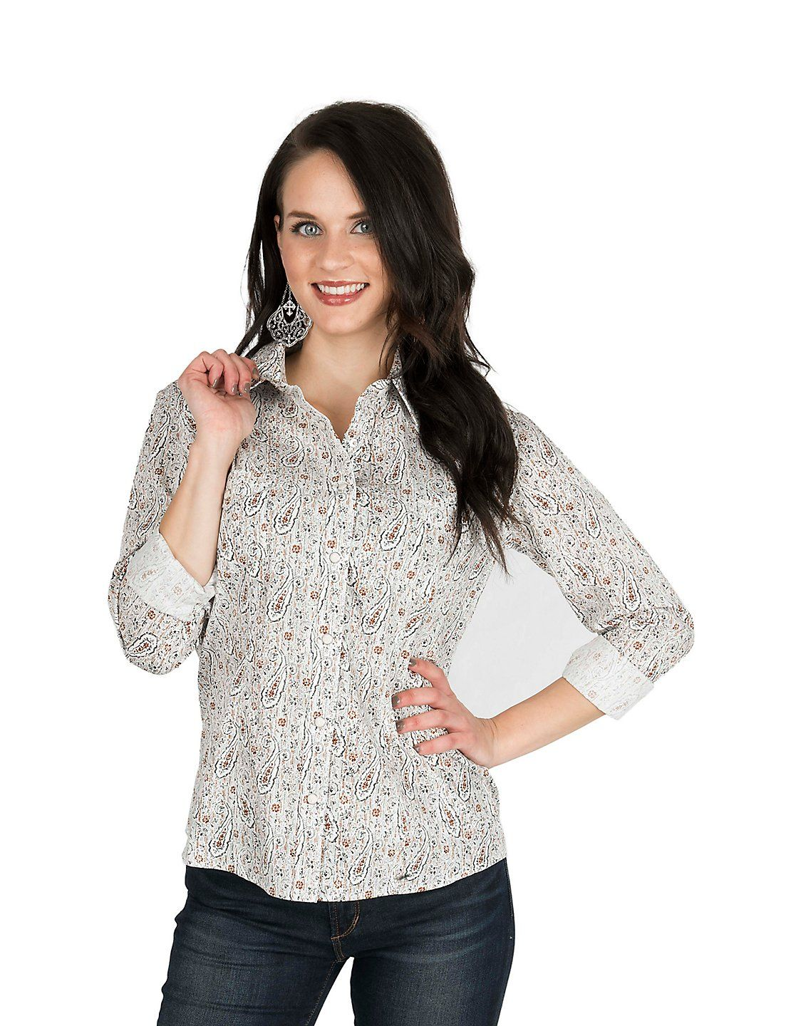 82f01d805bcd21 Panhandle Women's Cream, Rust, and Black Paisley Print Long Sleeve Western  Shirt | Cavender's