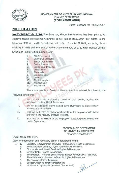 Health Professional Allowance Notification   Employees Pk