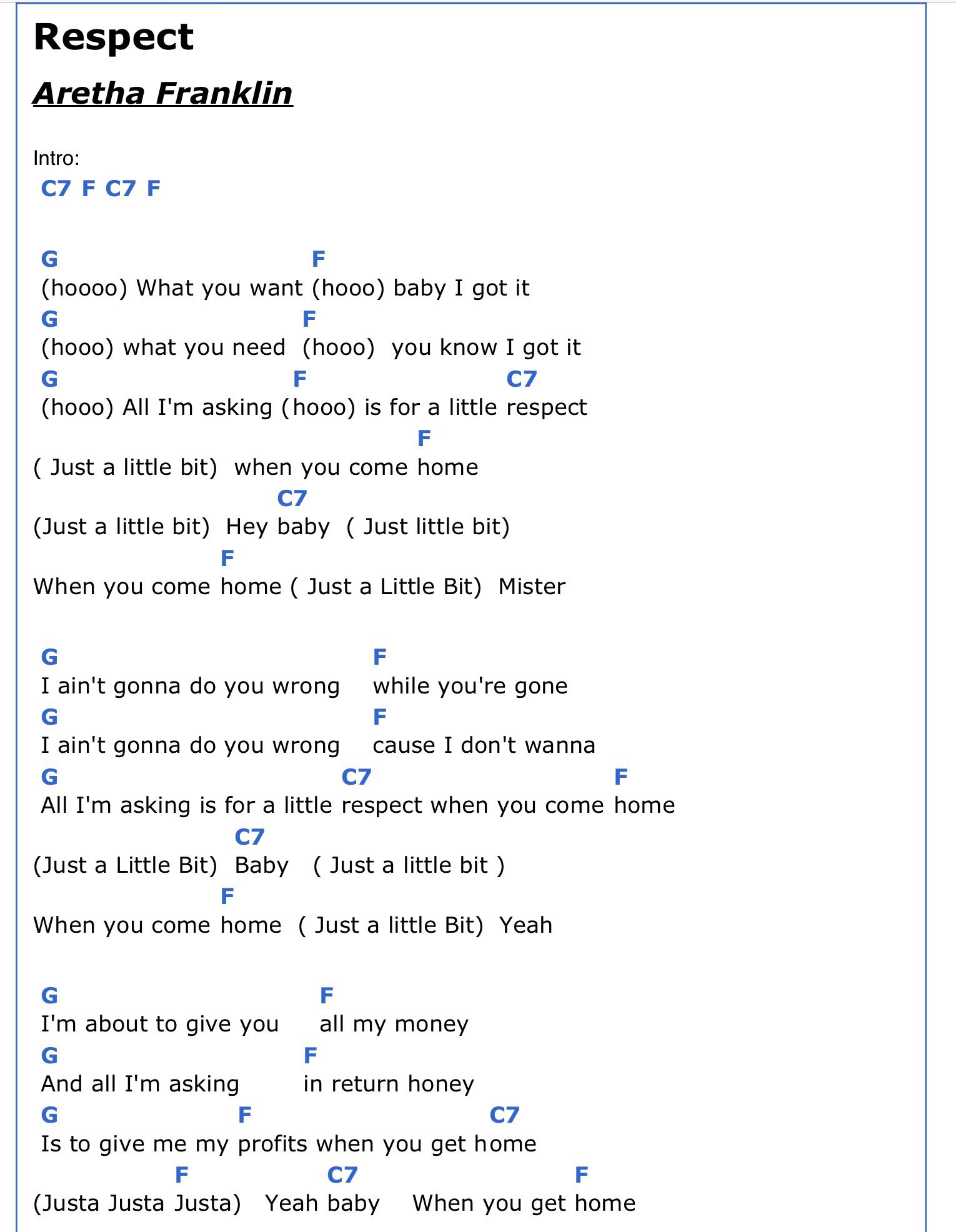 Respect 1 2 With Images Lyrics And Chords Song Lyrics And
