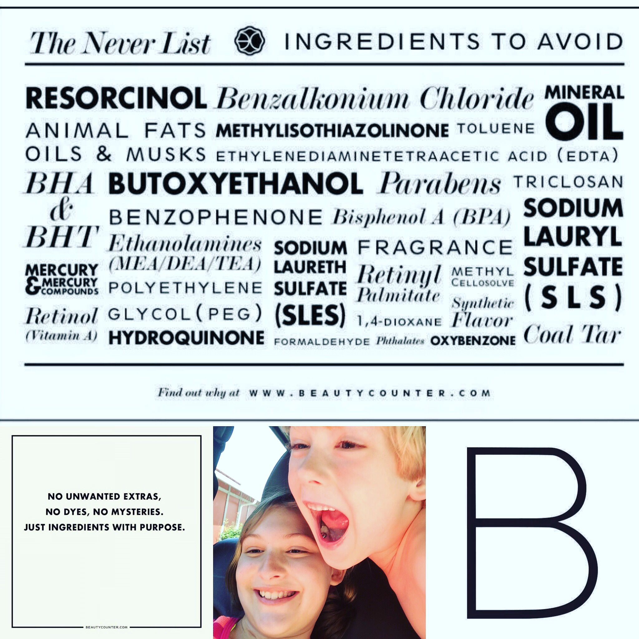 My Beautycounter WHY? These two crazy kids right here! Their health matters & so does yours! www.beautycounter.com/sarahcotten