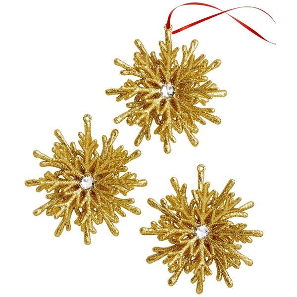 Holiday Lane Set of 3 Gold 3D Snowflake Ornaments ($10) ❤ liked on