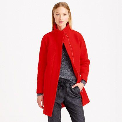 J.Crew - Petite stadium-cloth cocoon coat and it comes in PURPLE ...