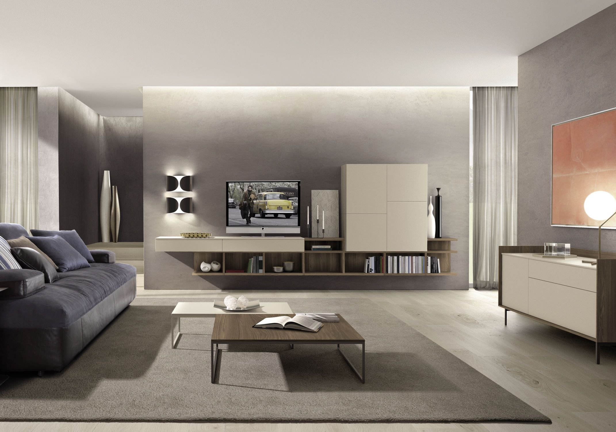 contemporary tv wall unit / in wood z508 zalf | 35cc | pinterest