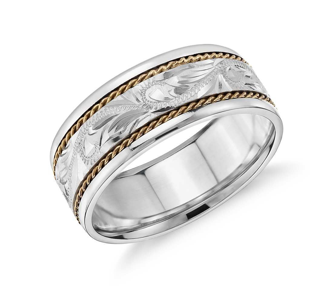 Two Tone Paisley Wedding Ring In 14k White Gold And Yellow 8mm