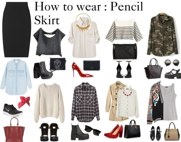 Love all the combinations with the simple black pencil skirt