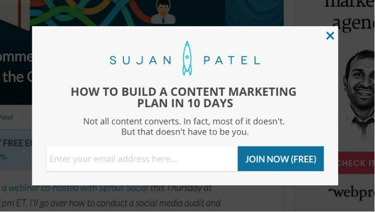 Optin for How to build a content marketing plan in 10 days - Sujan - content marketing plans