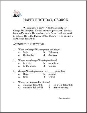 comprehension happy birthday george primary very easy reading comprehension projects to. Black Bedroom Furniture Sets. Home Design Ideas