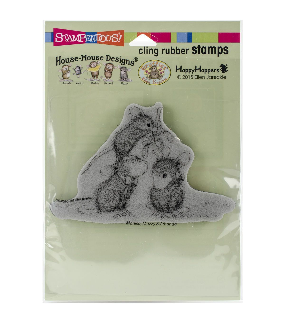 Stampendous House Mouse Cling Rubber Stamp Mistletoe Mice