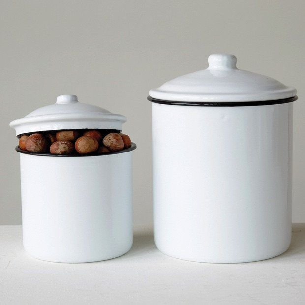 Enamel Kitchen Canisters Set Of 2