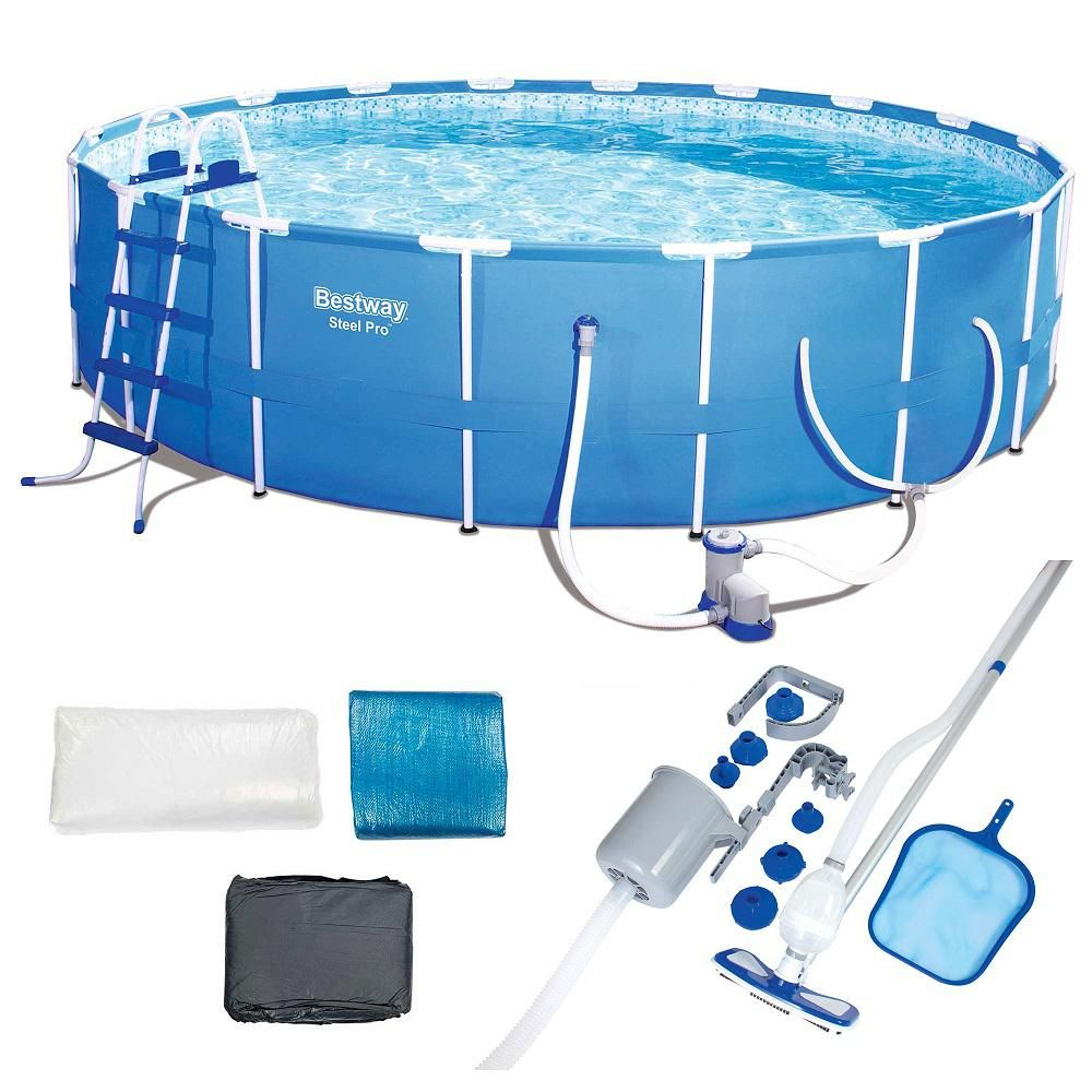 Bestway 48 In X 48 In Round 18 Ft Steel Pro Hard Side Frame Deep Above Ground Pool Set With Accessories 56463e Bw 58237e Bw The Home Depot Deep Above Ground Pools