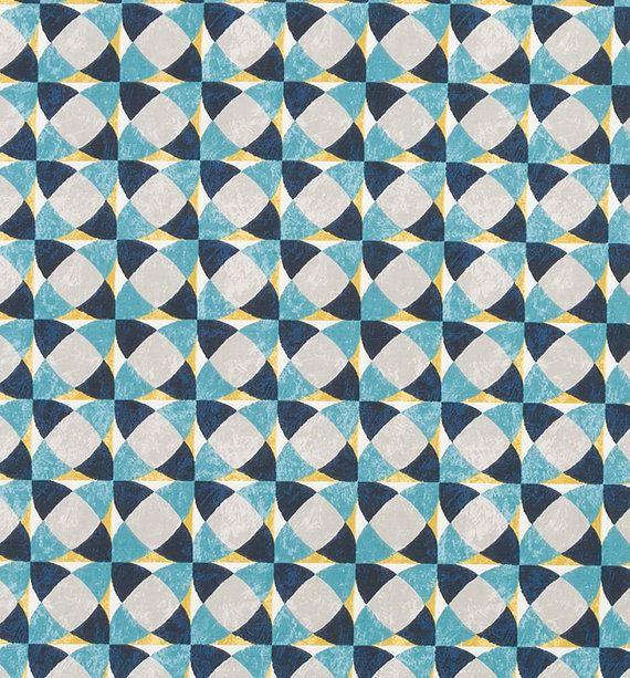 Turquoise Yellow Geometric Upholstery Drapery Fabric Modern Navy Blue Custom Curtains Mustard Home