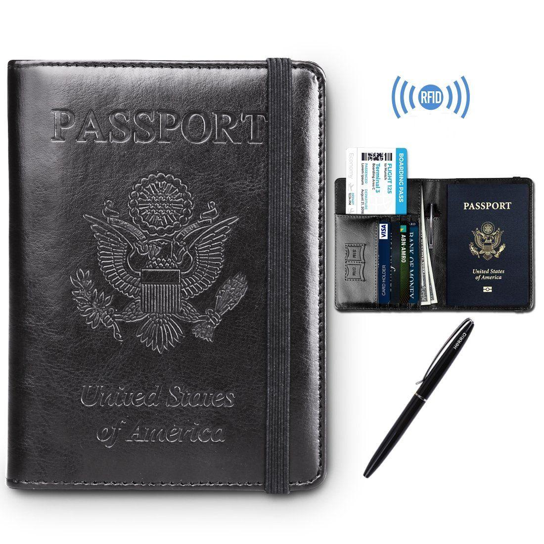 Travel PU Leather RFID Blocking Case Wallet for Women /& Men Passport Holder Cover