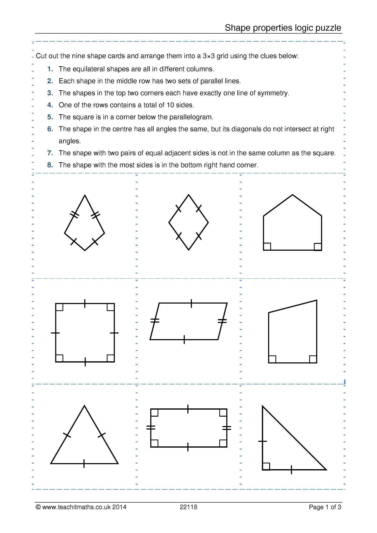 Quadrilaterals Worksheets 5th Grade Triangle And Quadrilateral Properties Key In 2020 Shapes Worksheets Shapes Worksheet Kindergarten Kids Worksheets Printables