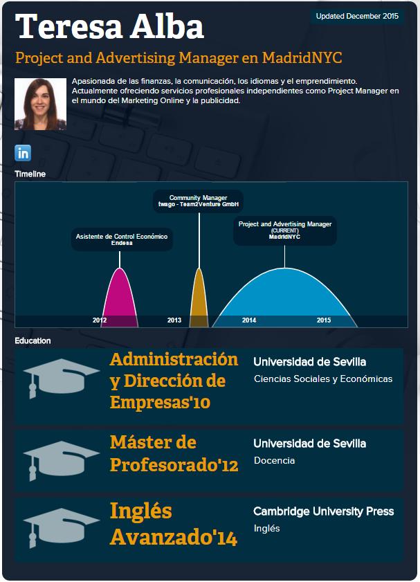 Ejemplo de #CV en #Infografía - Teresa Alba | Postempleo | Pinterest ...