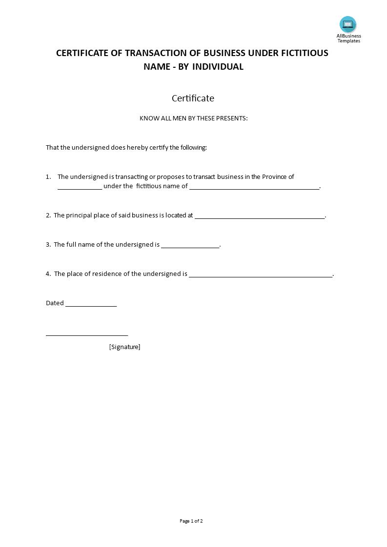 certificate fictitious individual template bezoeken