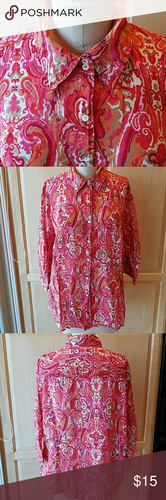Tommy Hilfiger lightweight cotton top Colorful paisley print on 100%cotton Excellent used condition Pretty pearly buttons 3/4 length sleeves Perfect for spring Tommy Hilfiger Tops Button Down Shirts
