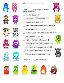 Dojo Point Rewards Upper Grades | Share with 4th grade team