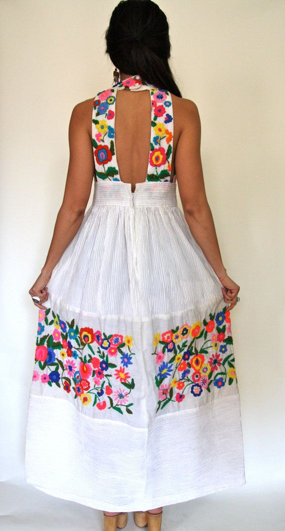 This Vintage 70s Mexican Oaxacan Embroidered White Dress By