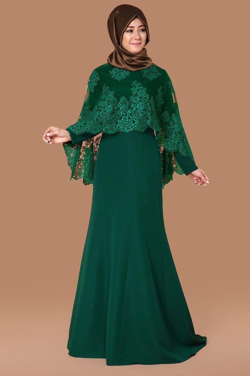 Pelerin Dantel Detay Abiye Elbise Msw8100 Zumrut Pakaian Wanita Model Pakaian Hijab Model Pakaian