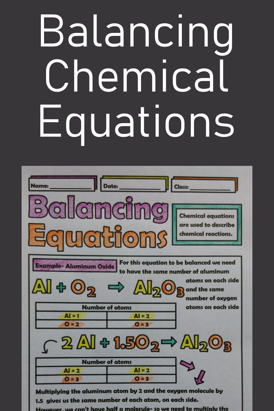 Balancing Chemical Equations Doodle Sheet Middle School