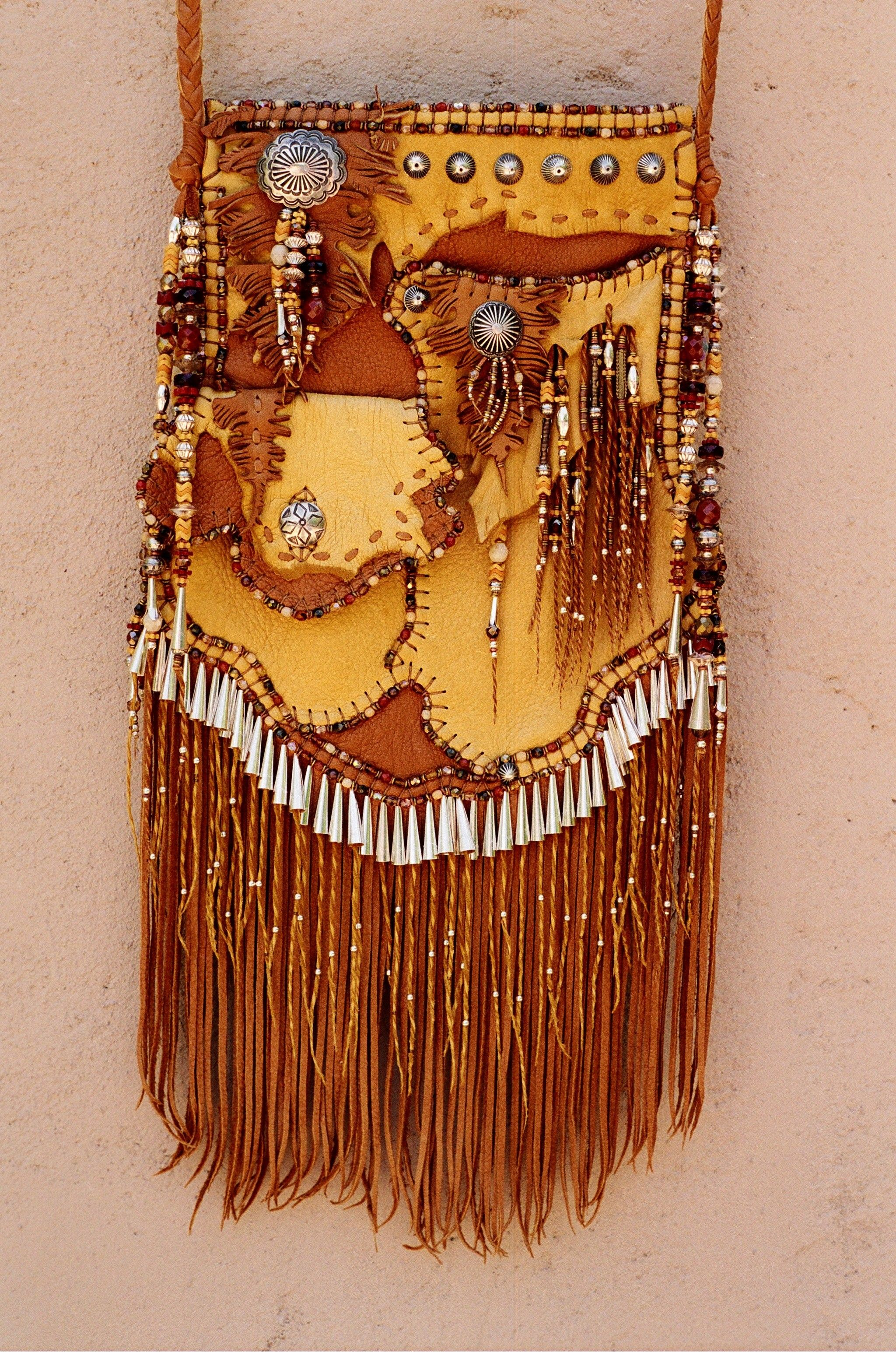 Pocket Bag with Antique Navajo button collection. Made by Carole Hook.