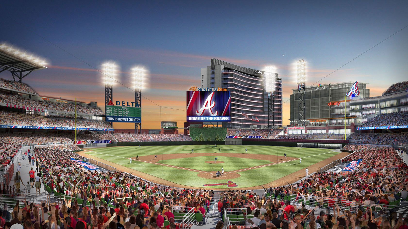 Renderings Of Suntrust Park The Future Stadium Of Atlanta Braves Located In The Cumberland Area Of Cobb County Georgia Suntrust Park Atlanta Braves Braves