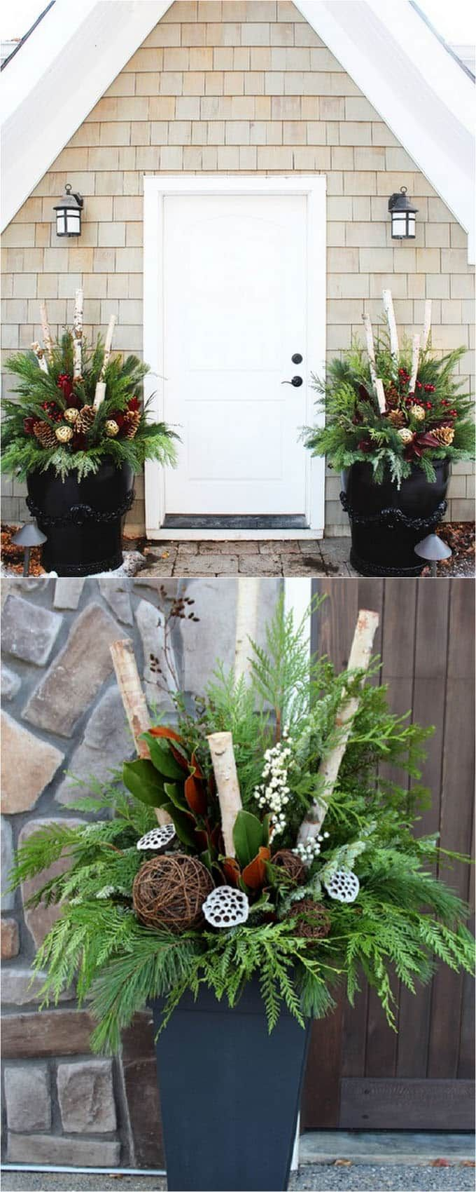 24 colorful winter planters  u0026 christmas outdoor decorations