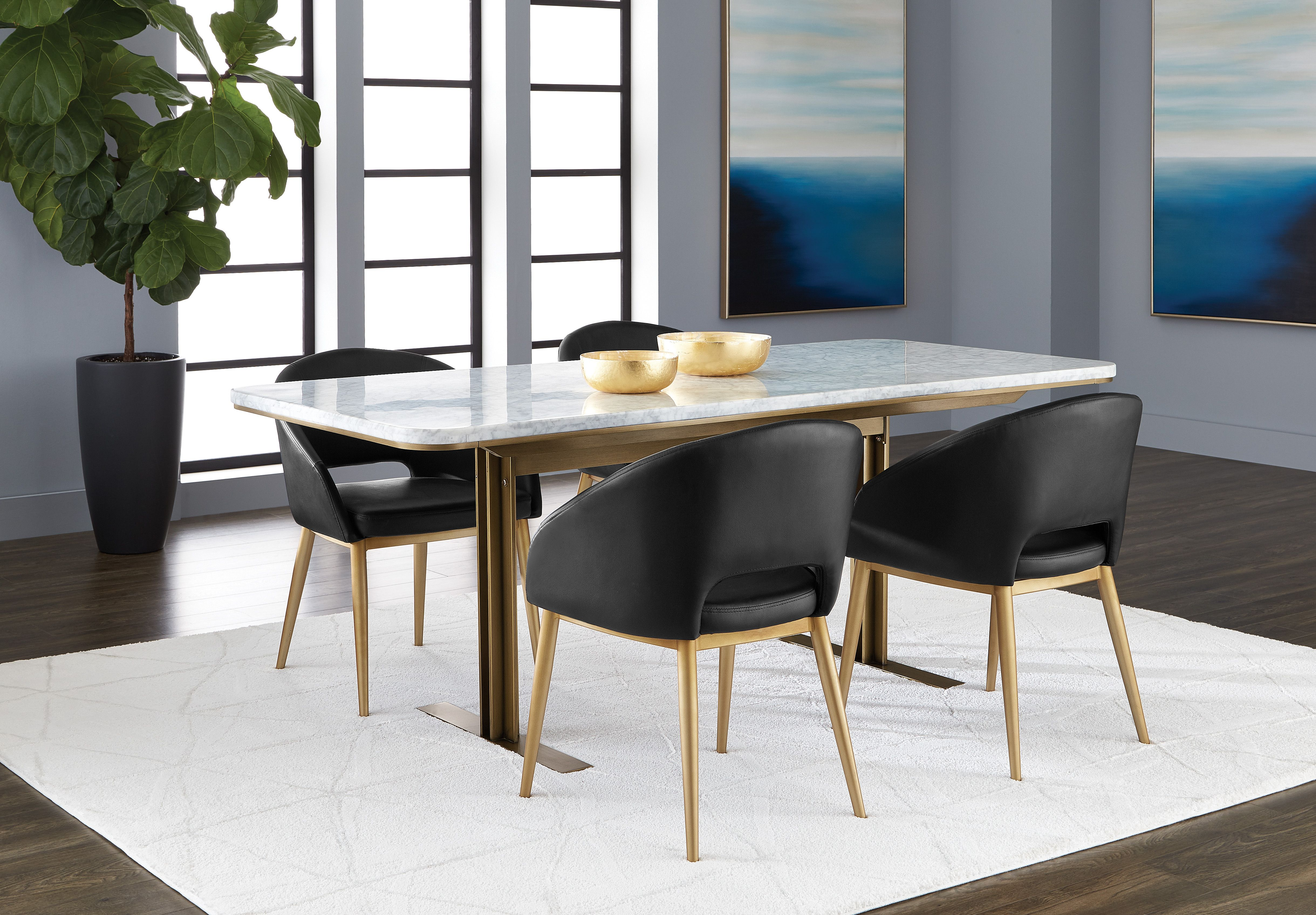 Ambrosia Dining Table White Marble And Antique Brass Frame With