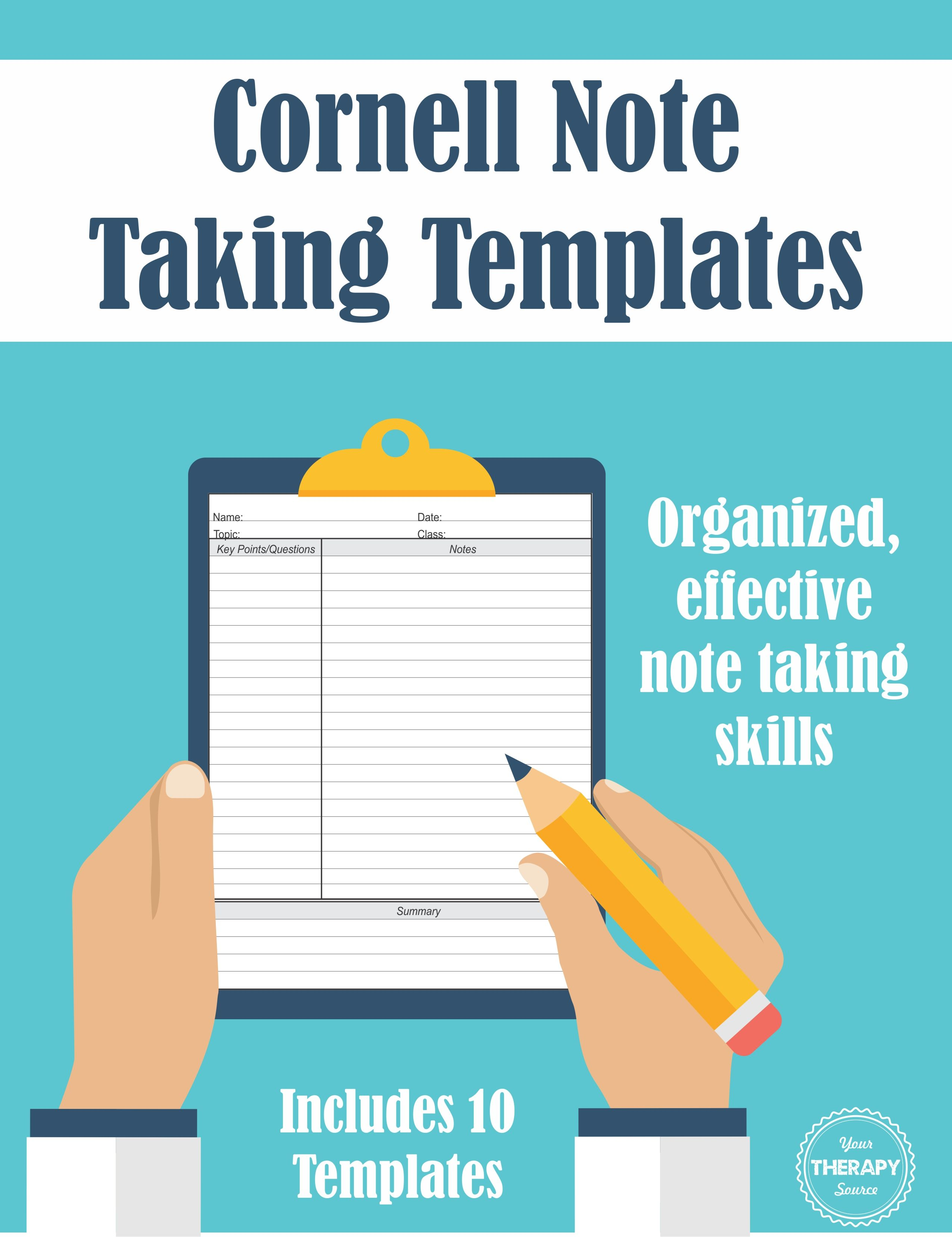 Cornell Note Taking Templates Organized Effective Note Taking