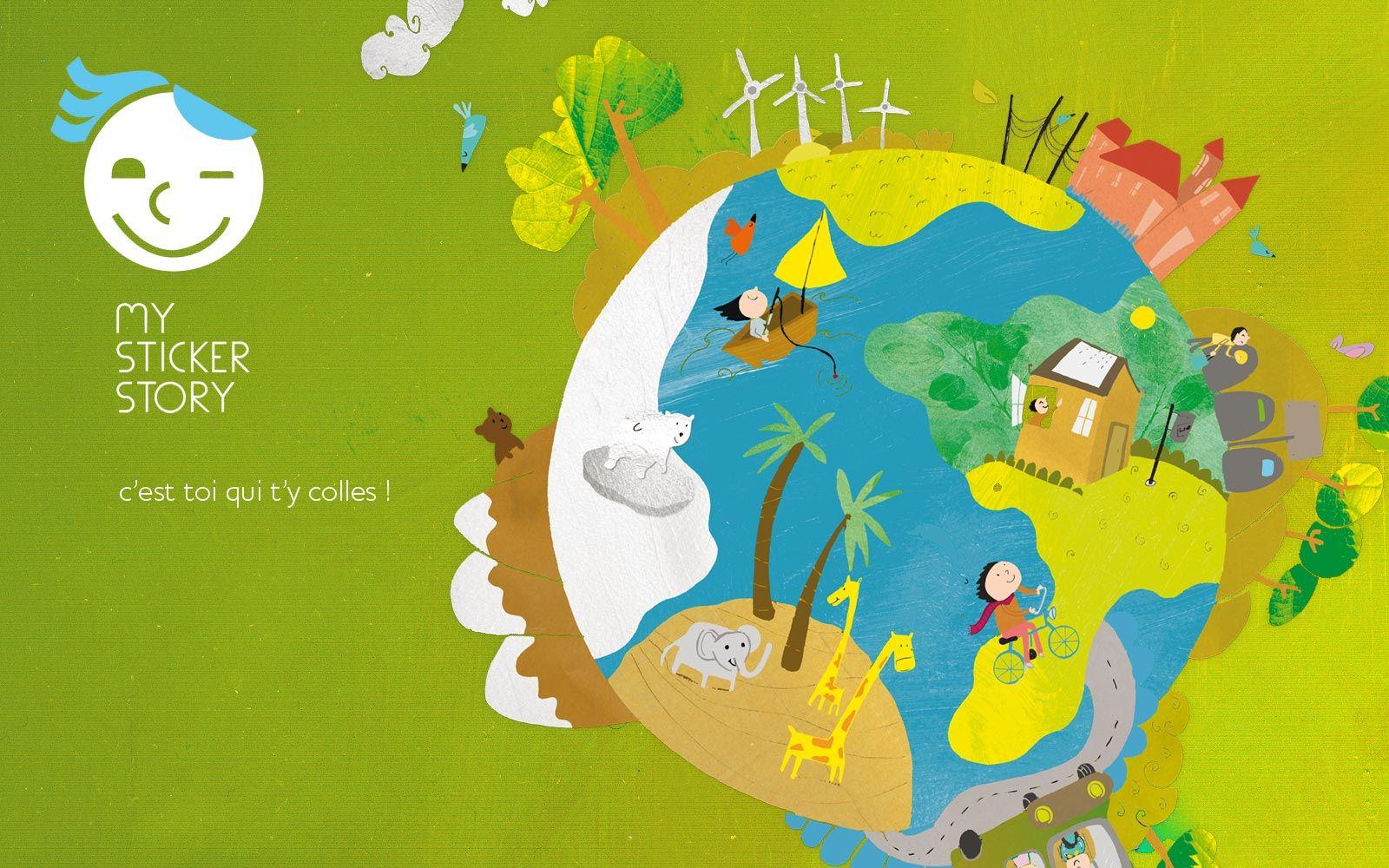 Identité visuelle, e-commerce, livres pour enfant, communication globale mystickerstory.com