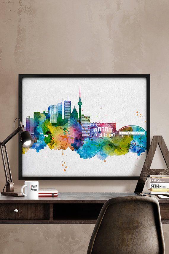 Toronto art print, Toronto poster, Toronto wall art, Toronto skyline ...