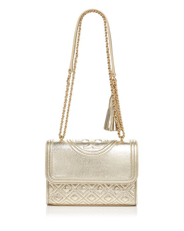 c76467c5d924 Tory Burch Fleming Small Metallic Shoulder Bag