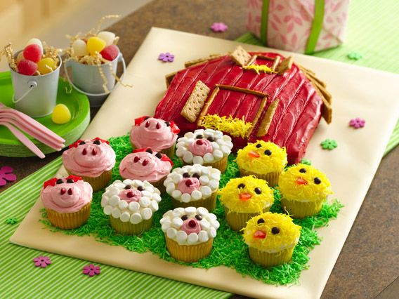 Outstanding Barn Cake With Farm Animal Cupcakes Recipe Barn Cake Farm Funny Birthday Cards Online Barepcheapnameinfo