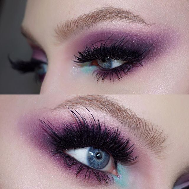 @sugrpill Poison Plum and Kim Chi eyeshadows. @morphebrushes 35O eyeshadow palette (I used some of the browns to darken up the crease.  @makeupforeverofficial Ink Liner.  The lashes are 3 random pairs cut up and combined to create a super lash! - @leighdicksonartistry