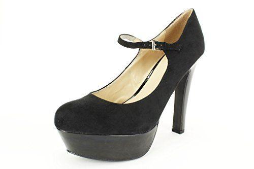 """Women/'s Highest Heel 5.25/"""" Heel Pump Black Kid PU Size 10 Shoes"""