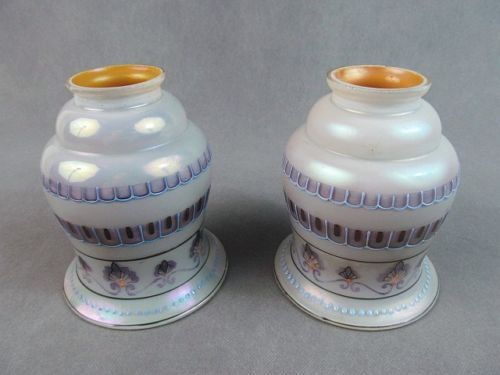 "Iridescent light gold shades w/aurene interior and  painted decoration with enamel accents.  The shades measure 5 1/2"" long and 4 3/8"" across. The fitter end is 2 1/4"" across (1 3/4"" inside dimension)."