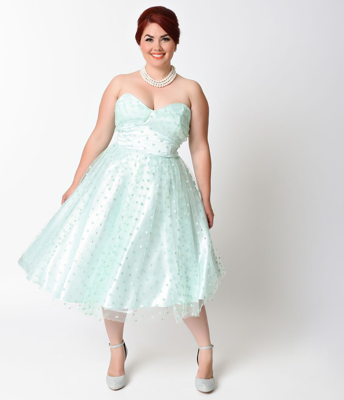 Cute plus size retro dresses for sale tea length wedding dress unique vintage plus size 1950s mint swiss dot dandridge strapless swing dress 9800 at vintagedancer ombrellifo Gallery