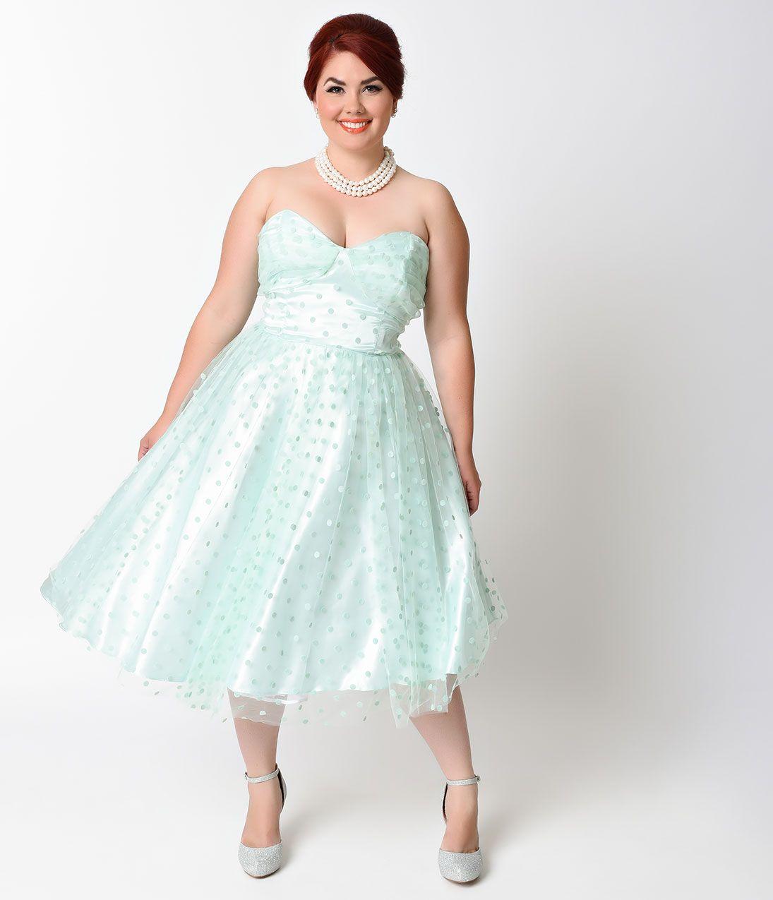 665f3bae4de7 Unique Vintage Plus Size 1950s Mint Swiss Dot Dandridge Strapless Swing  Dress $98.00 AT vintagedancer.com