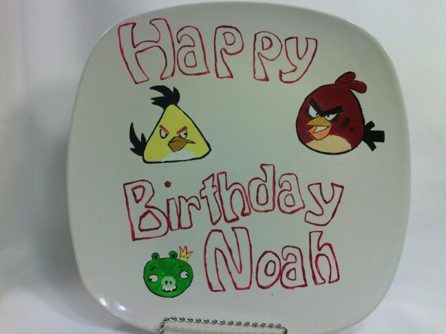 Angry Birds personalized birthday plate